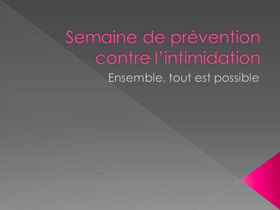 Semaine de prévention contre l'intimidation