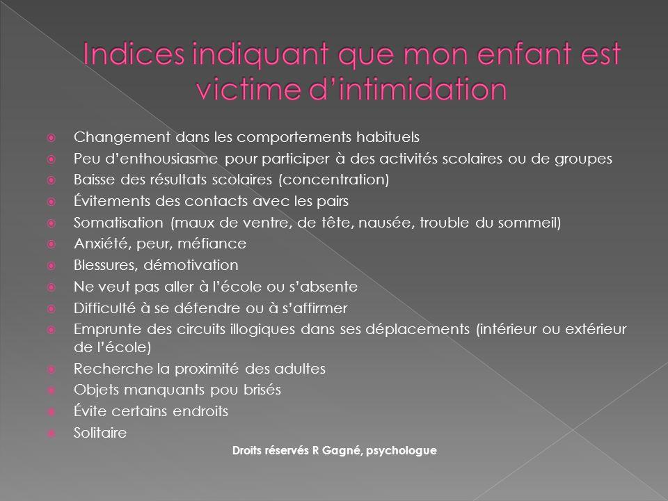 Indices indiquant que mon enfant est victime d'intimidation