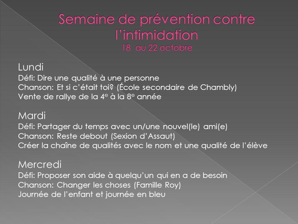 Semaine de prévention contre l'intimidation 18 au 22 octobre