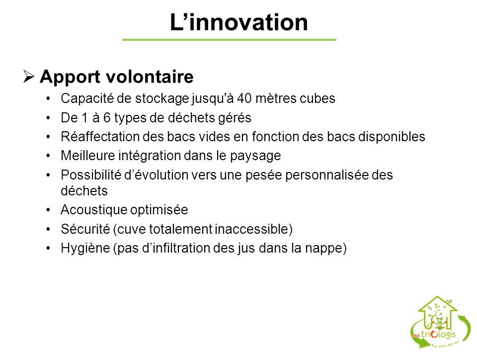 L'innovation Apport volontaire