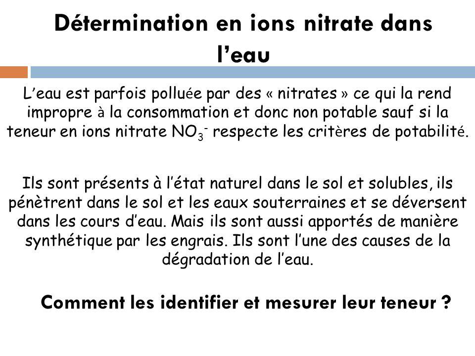 Détermination en ions nitrate dans l'eau