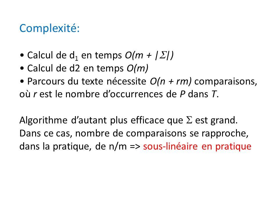 Complexité: • Calcul de d1 en temps O(m + |S|)