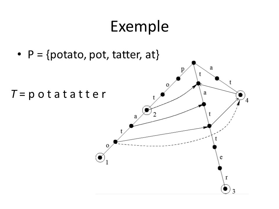 Exemple P = {potato, pot, tatter, at} T = p o t a t a t t e r