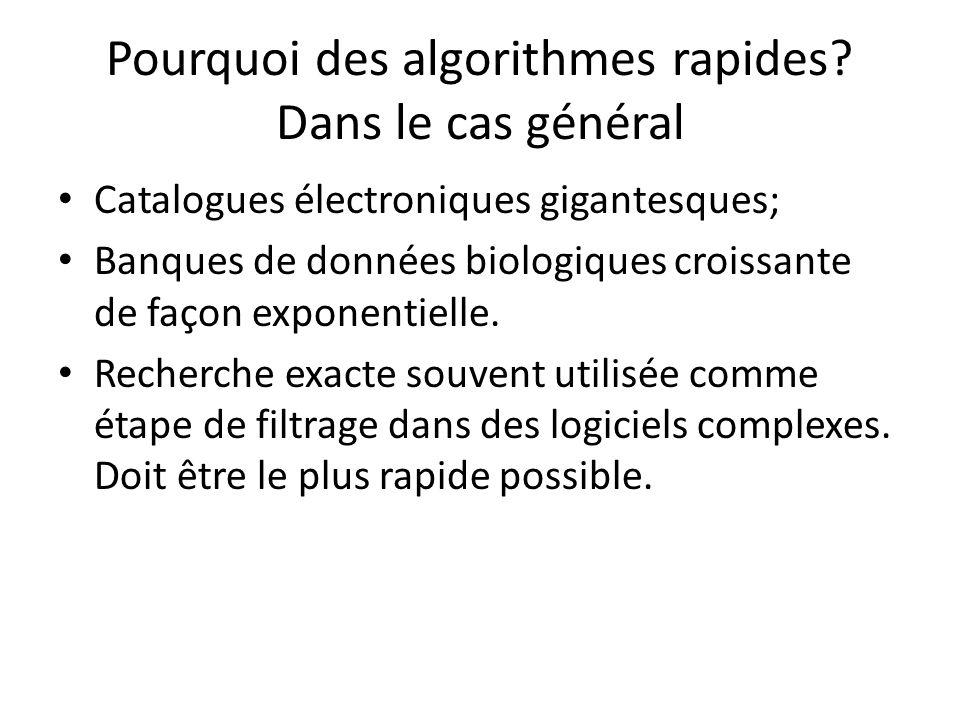 Pourquoi des algorithmes rapides Dans le cas général