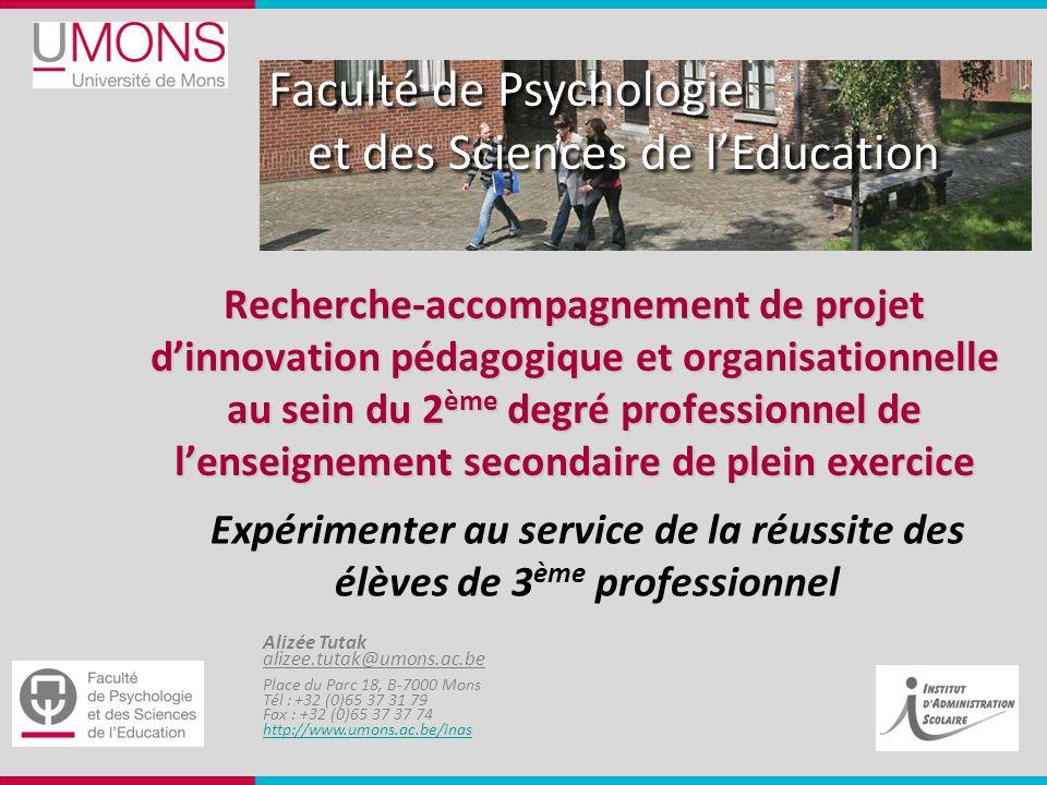 Recherche-accompagnement de projet d'innovation pédagogique et organisationnelle au sein du 2ème degré professionnel de l'enseignement secondaire de plein exercice