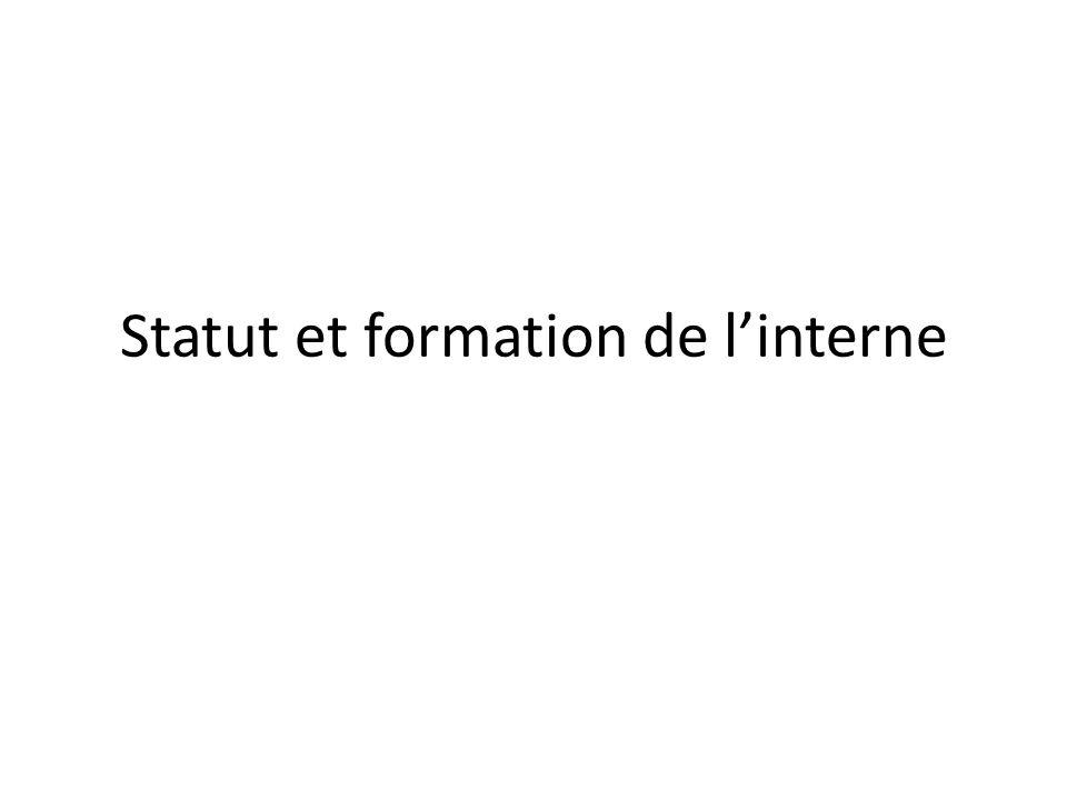 Statut et formation de l'interne