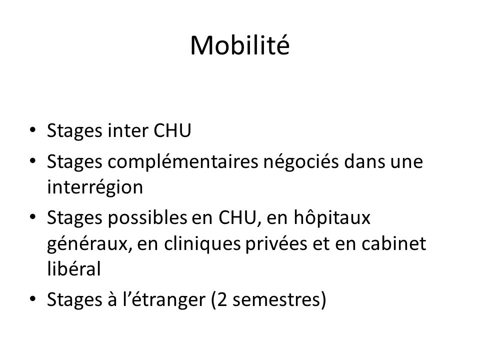 Mobilité Stages inter CHU