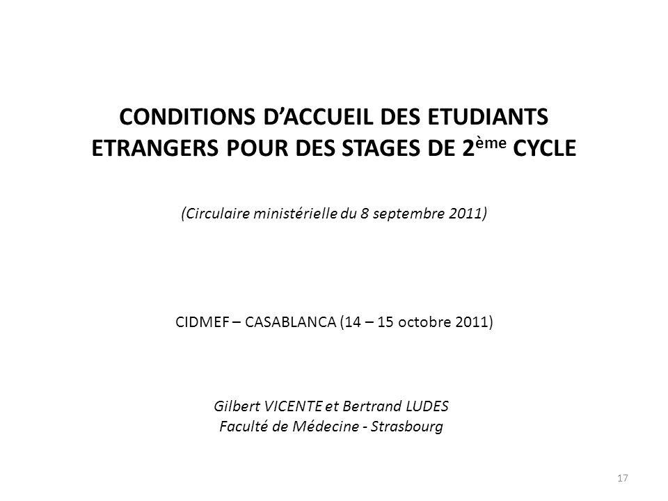 CONDITIONS D'ACCUEIL DES ETUDIANTS ETRANGERS POUR DES STAGES DE 2ème CYCLE