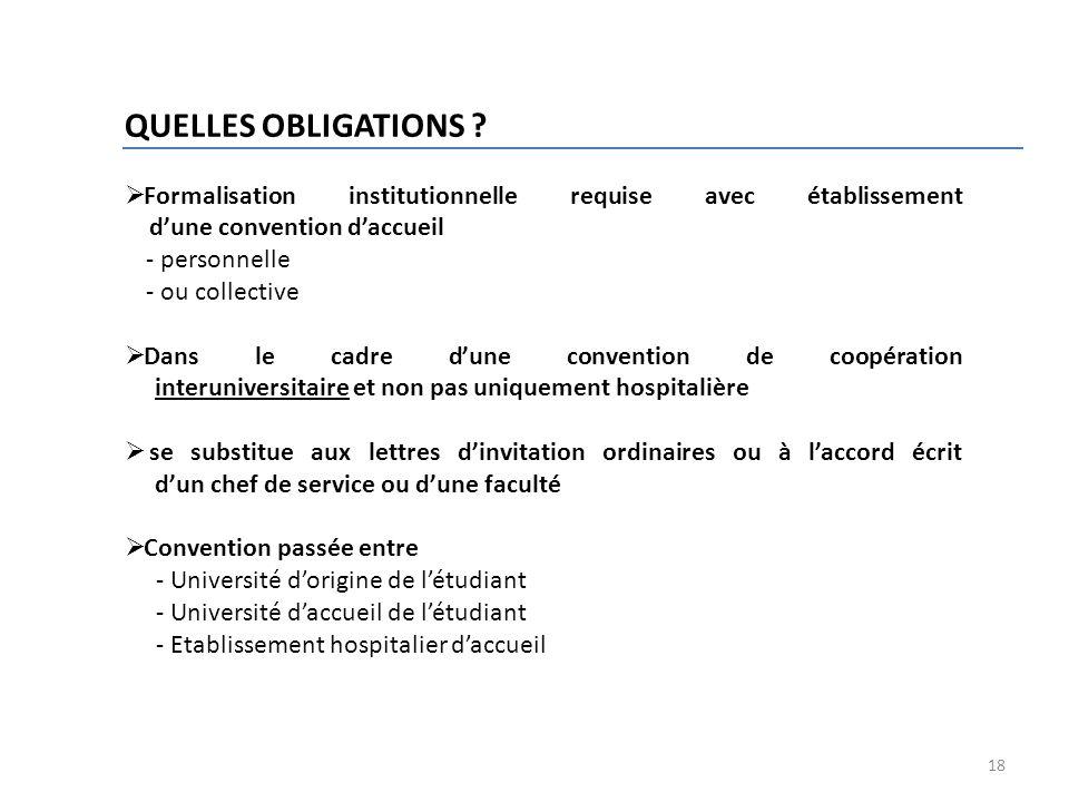 QUELLES OBLIGATIONS Formalisation institutionnelle requise avec établissement d'une convention d'accueil.