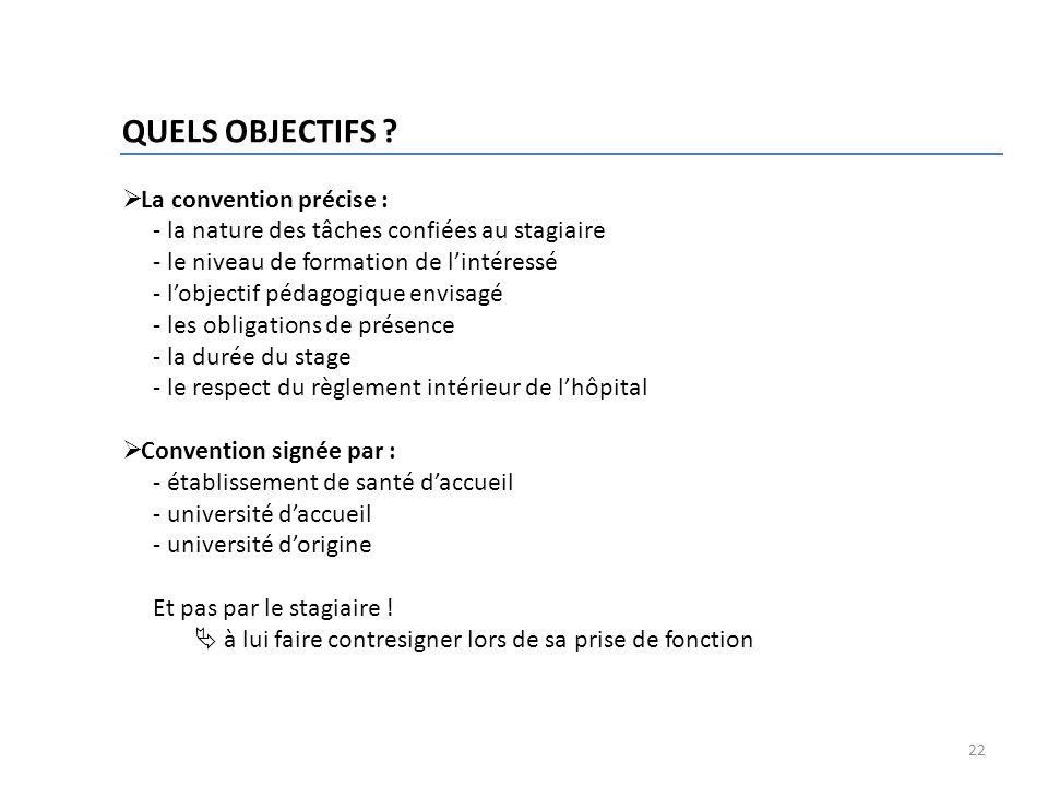 QUELS OBJECTIFS La convention précise :