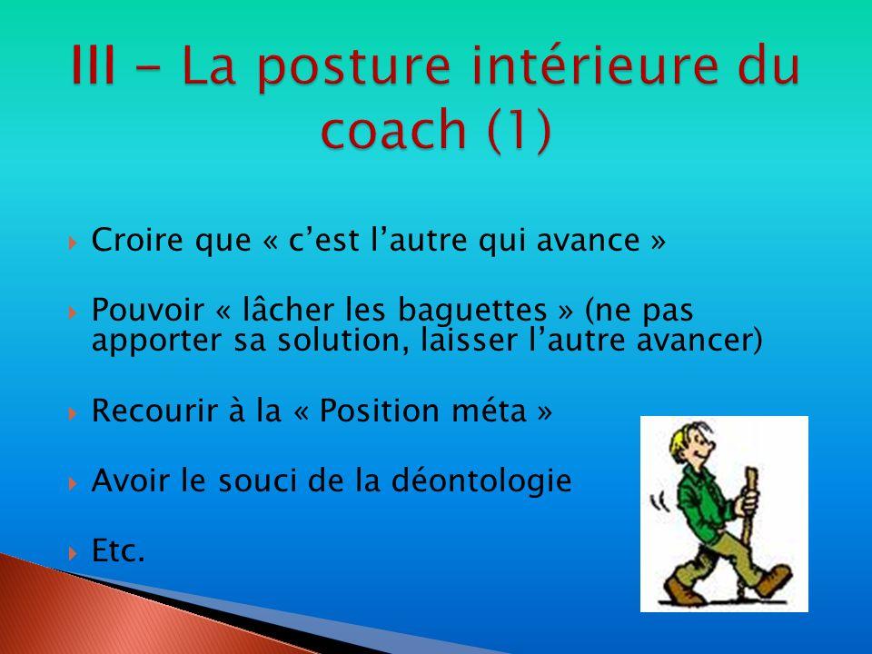 III - La posture intérieure du coach (1)