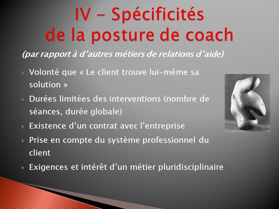 IV - Spécificités de la posture de coach