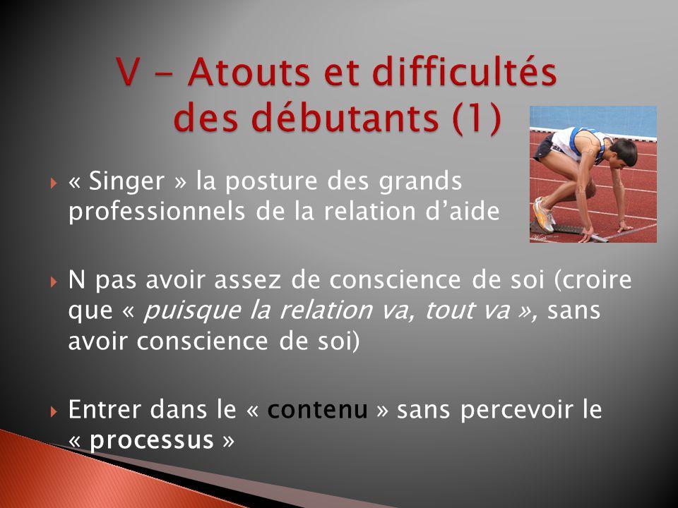 V - Atouts et difficultés des débutants (1)