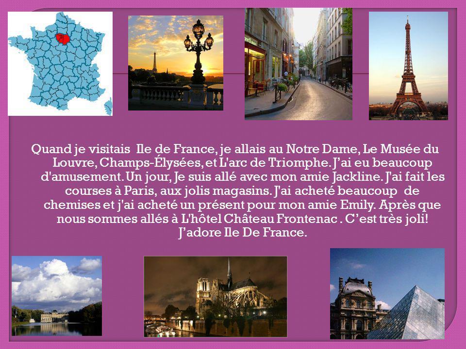 Quand je visitais Ile de France, je allais au Notre Dame, Le Musée du Louvre, Champs-Élysées, et L arc de Triomphe.