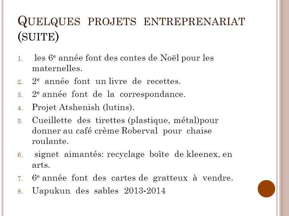 Quelques projets entreprenariat (suite)