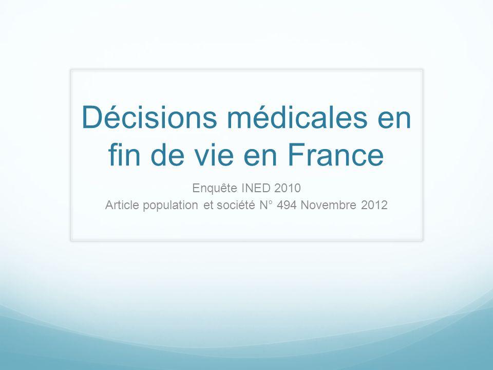 Décisions médicales en fin de vie en France