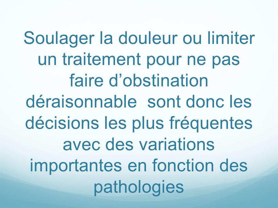 Soulager la douleur ou limiter un traitement pour ne pas faire d'obstination déraisonnable sont donc les décisions les plus fréquentes avec des variations importantes en fonction des pathologies