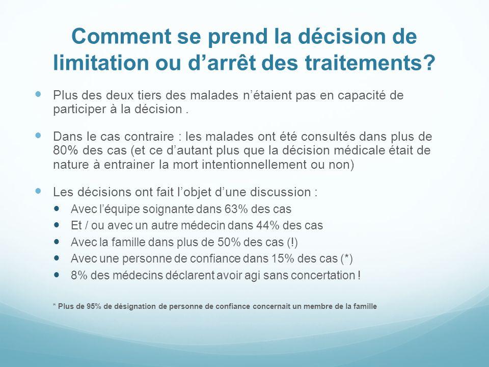 Comment se prend la décision de limitation ou d'arrêt des traitements
