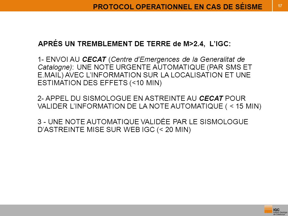 PROTOCOL OPERATIONNEL EN CAS DE SÉISME