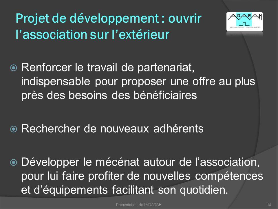Projet de développement : ouvrir l'association sur l'extérieur