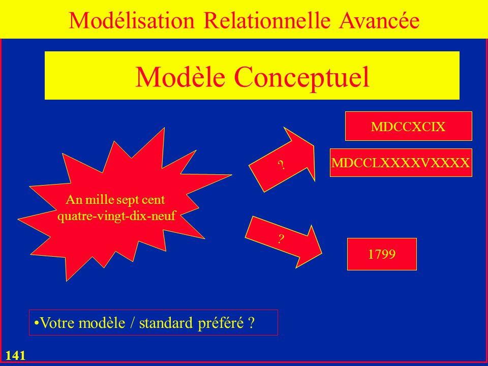 Modèle Conceptuel Modélisation Relationnelle Avancée