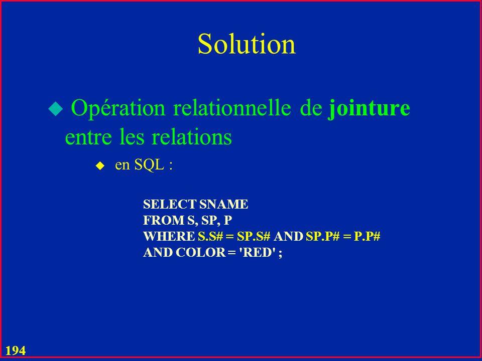 Solution Opération relationnelle de jointure entre les relations