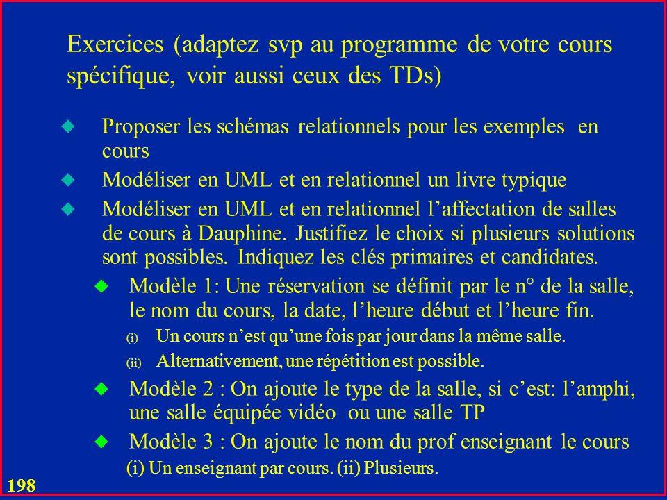 Exercices (adaptez svp au programme de votre cours spécifique, voir aussi ceux des TDs)
