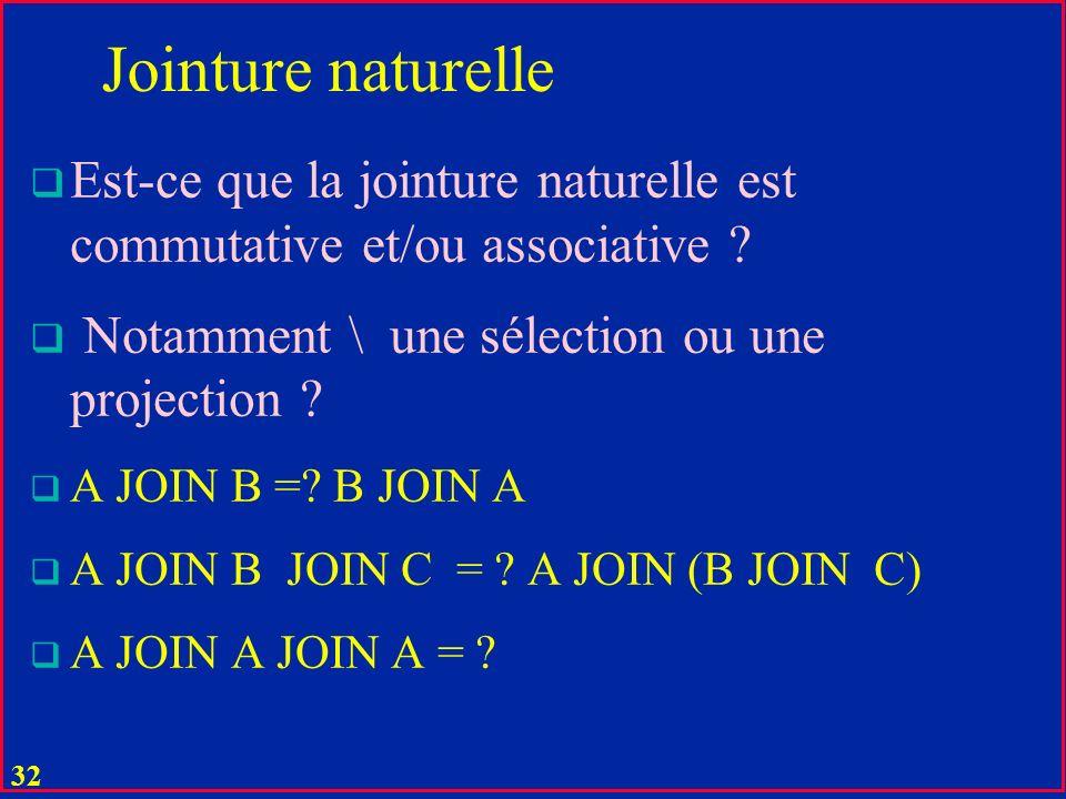 Jointure naturelle Est-ce que la jointure naturelle est commutative et/ou associative Notamment \ une sélection ou une projection