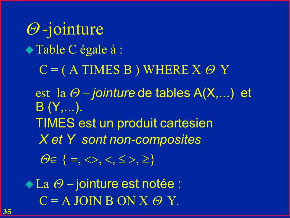 -jointure Table C égale à : C = ( A TIMES B ) WHERE X  Y