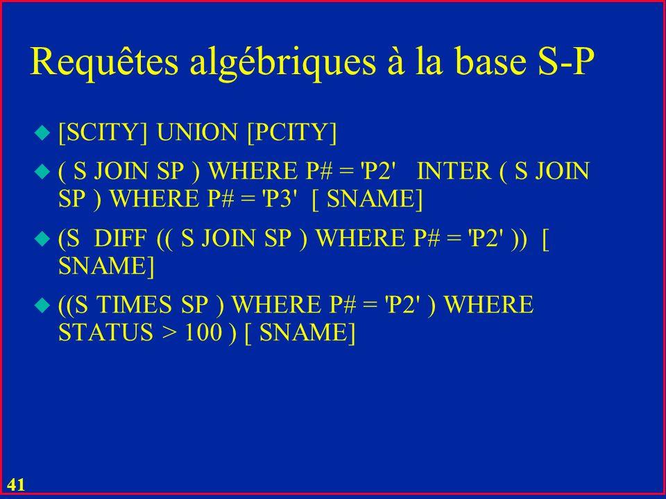 Requêtes algébriques à la base S-P