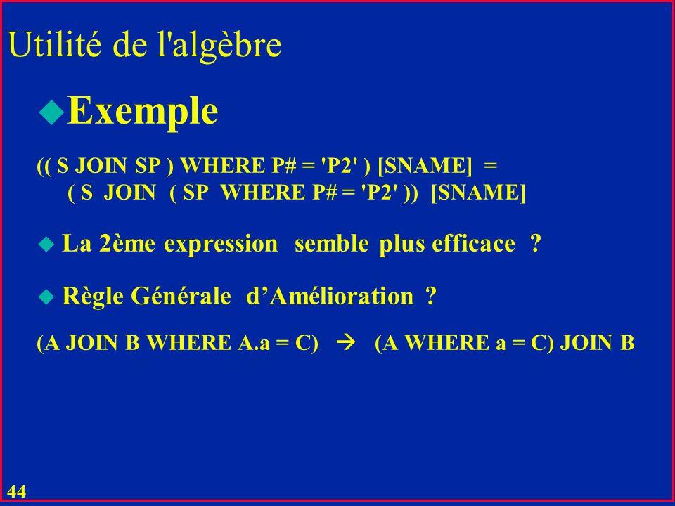 Exemple Utilité de l algèbre La 2ème expression semble plus efficace