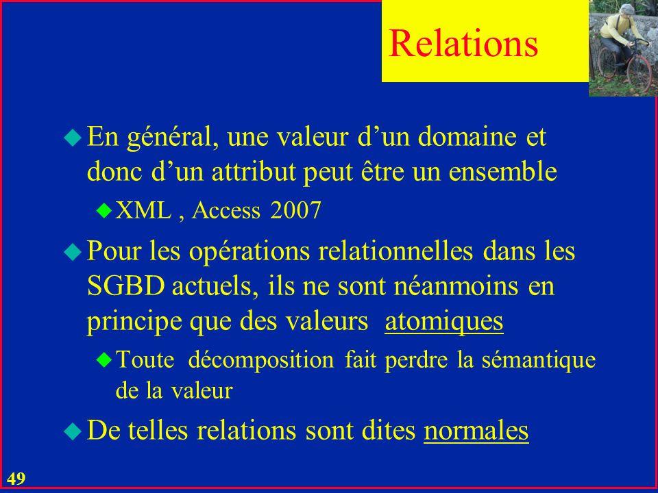Relations En général, une valeur d'un domaine et donc d'un attribut peut être un ensemble. XML , Access 2007.