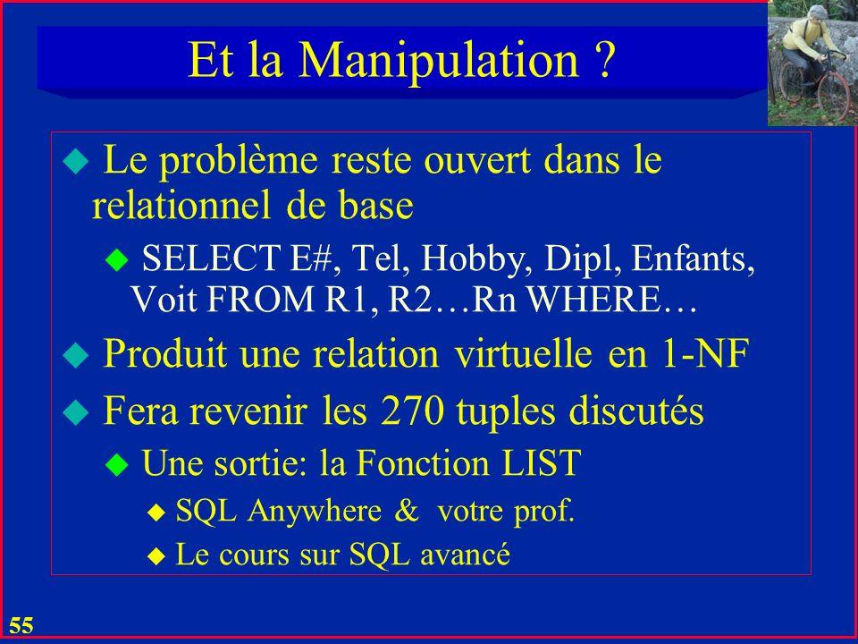 Et la Manipulation Le problème reste ouvert dans le relationnel de base. SELECT E#, Tel, Hobby, Dipl, Enfants, Voit FROM R1, R2…Rn WHERE…