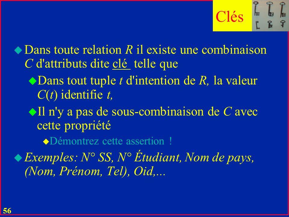 Clés Dans toute relation R il existe une combinaison C d attributs dite clé telle que.