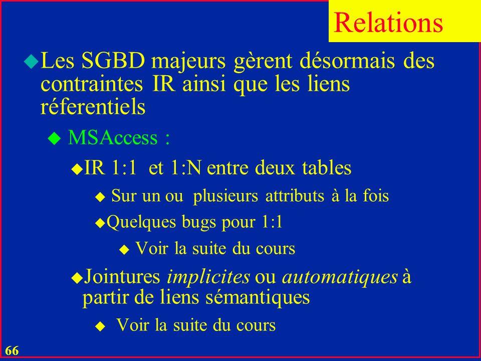Relations Les SGBD majeurs gèrent désormais des contraintes IR ainsi que les liens réferentiels. MSAccess :