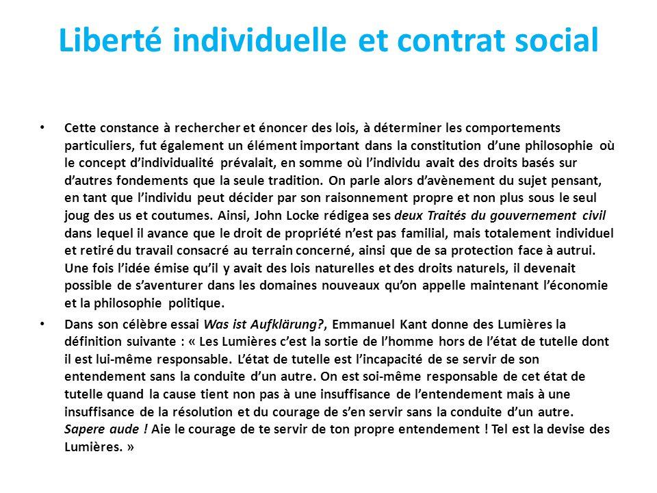 Liberté individuelle et contrat social