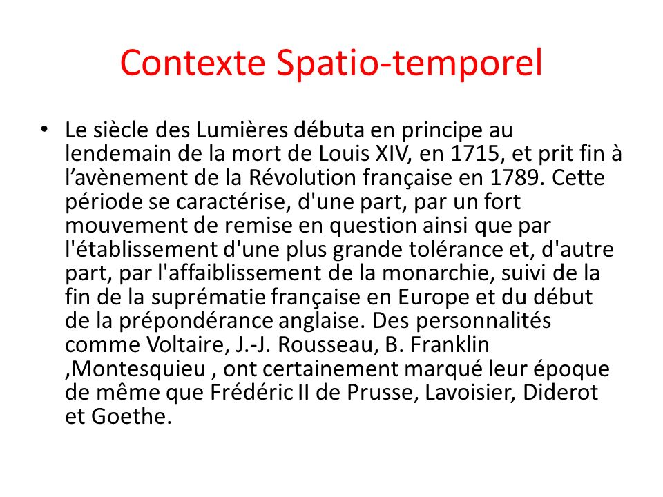Contexte Spatio-temporel