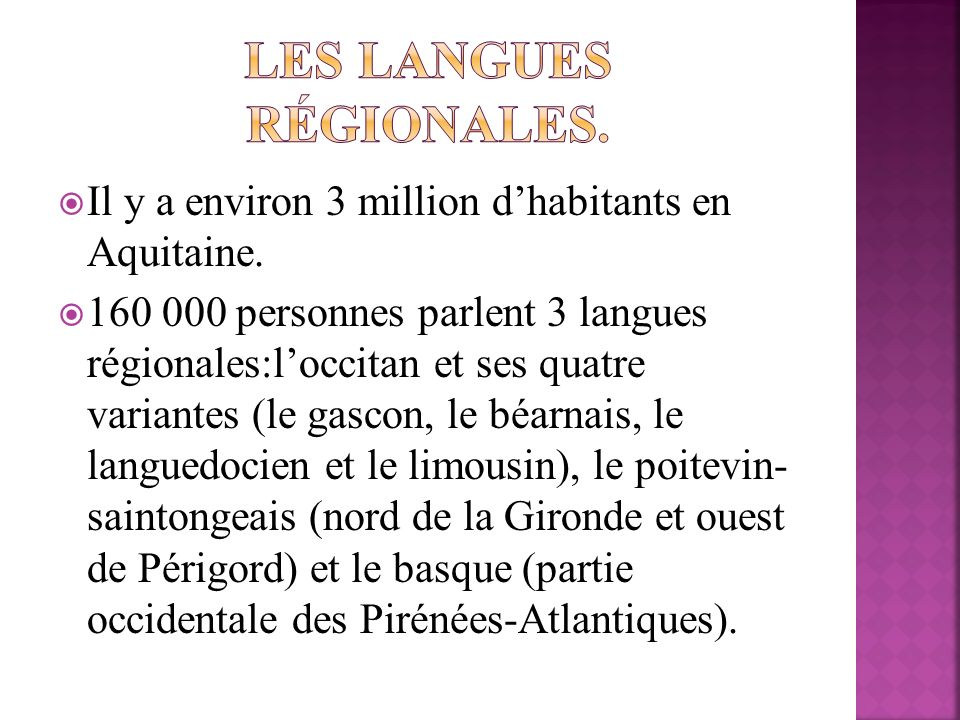 Les langues régionales.