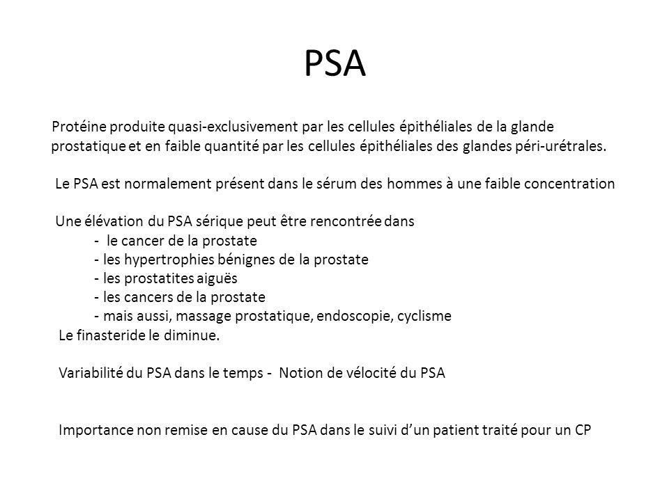 PSA Protéine produite quasi-exclusivement par les cellules épithéliales de la glande.