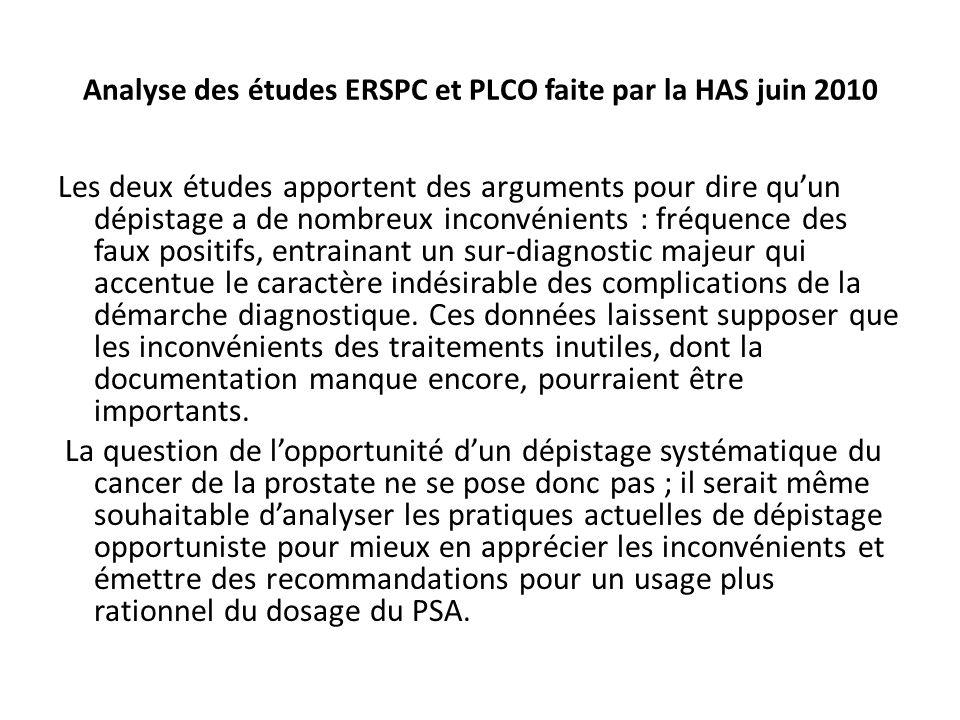 Analyse des études ERSPC et PLCO faite par la HAS juin 2010