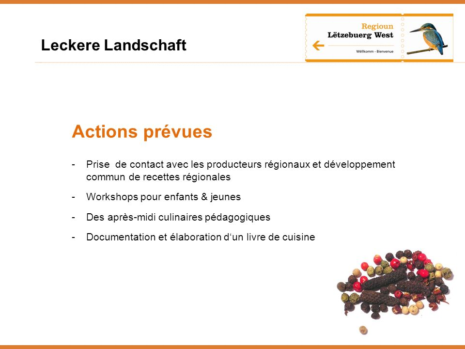 Actions prévues Leckere Landschaft