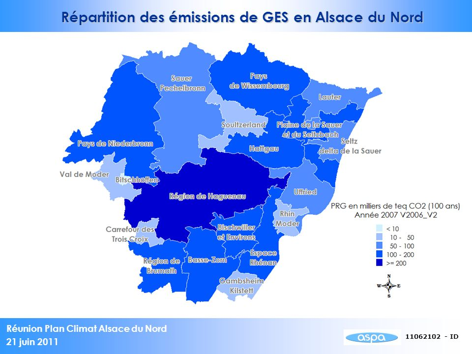 Répartition des émissions de GES en Alsace du Nord
