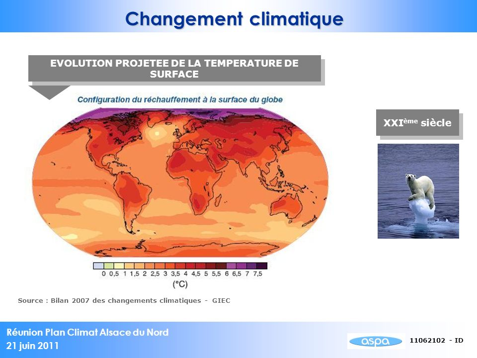 Changement climatique EVOLUTION PROJETEE DE LA TEMPERATURE DE SURFACE