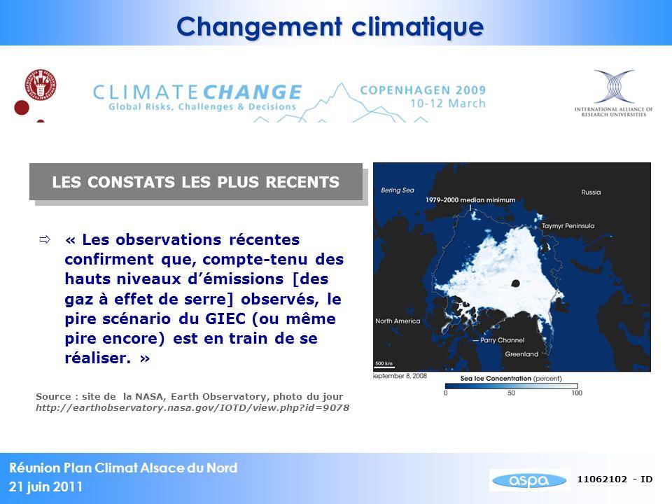 Changement climatique LES CONSTATS LES PLUS RECENTS