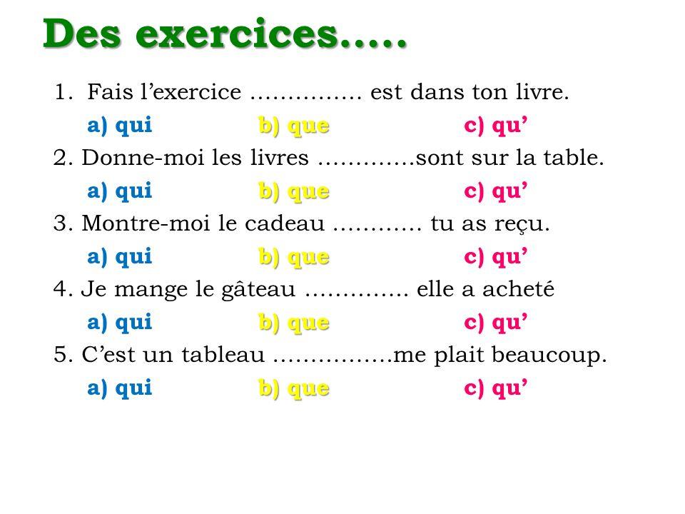 Des exercices….. Fais l'exercice …………… est dans ton livre.