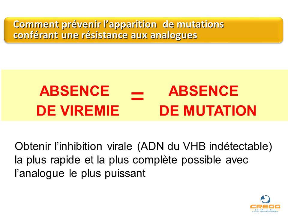 ABSENCE = ABSENCE DE VIREMIE DE MUTATION