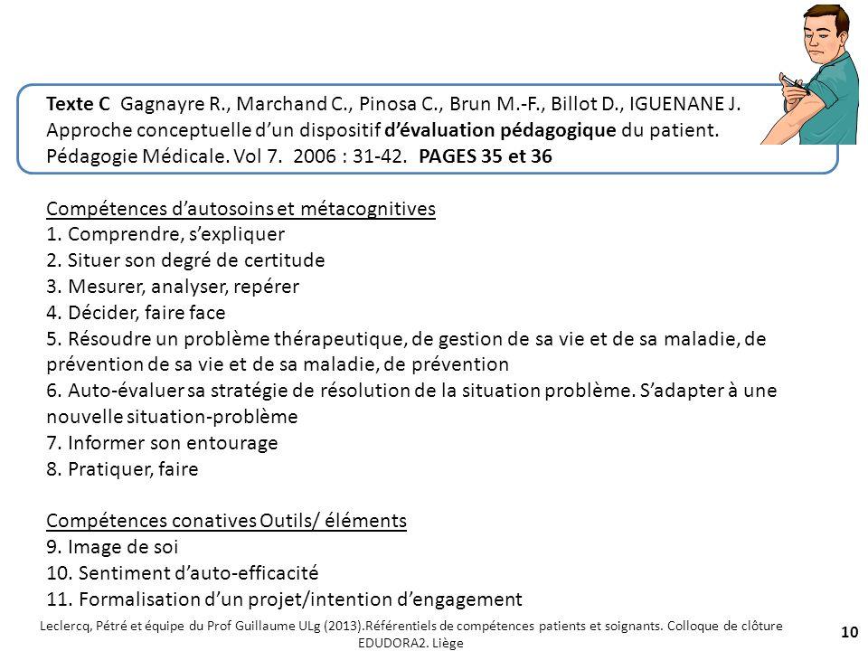 Compétences d'autosoins et métacognitives 1. Comprendre, s'expliquer