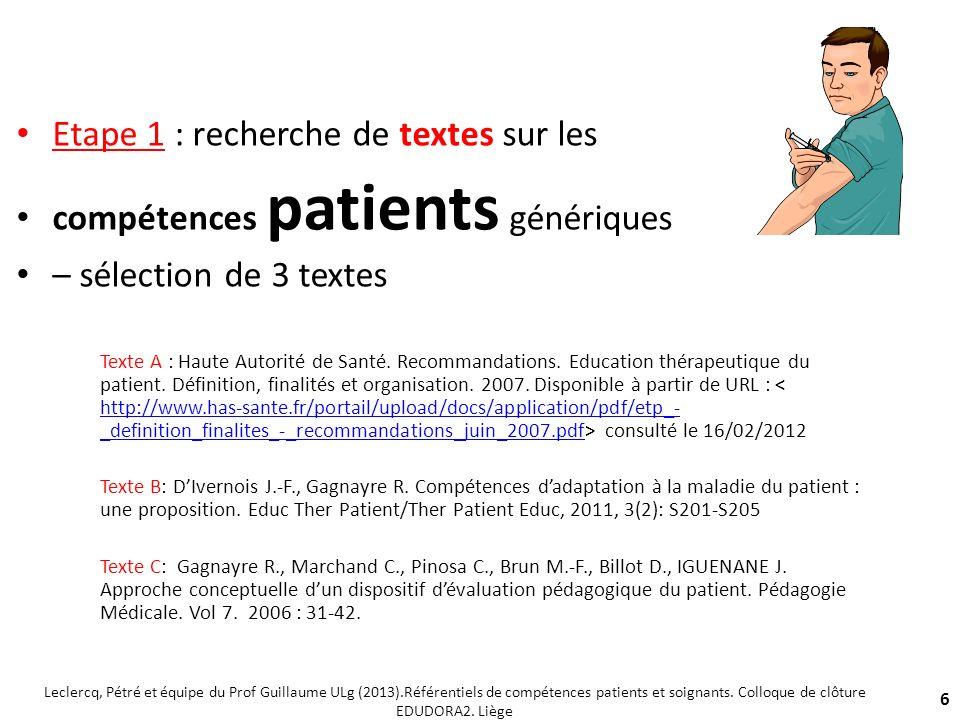 Etape 1 : recherche de textes sur les compétences patients génériques