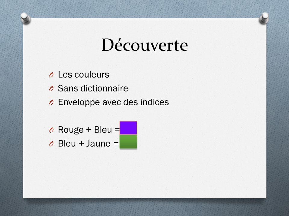 Découverte Les couleurs Sans dictionnaire Enveloppe avec des indices