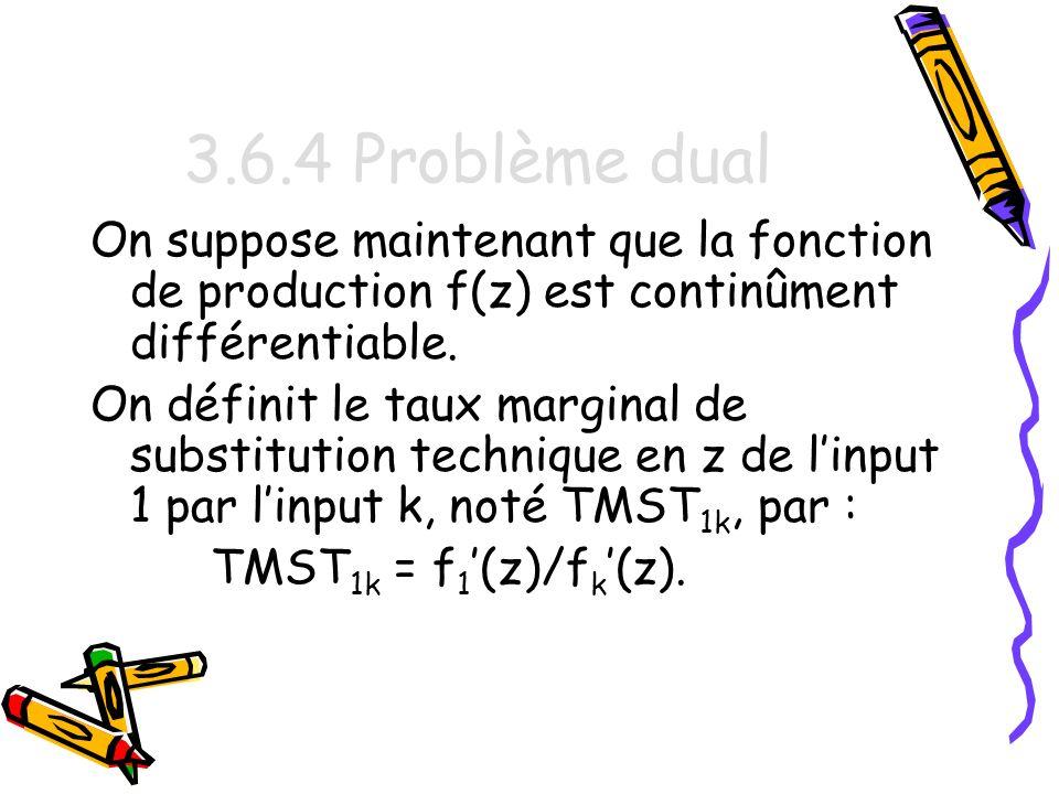 3.6.4 Problème dual On suppose maintenant que la fonction de production f(z) est continûment différentiable.